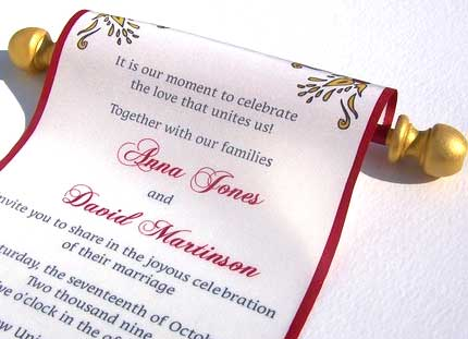 go royal with scroll wedding cards